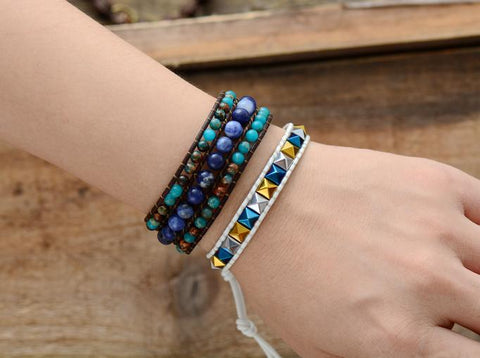 Image of Unique Handmade Jasper And Sodalite Stone Leather Cuff Bracelet