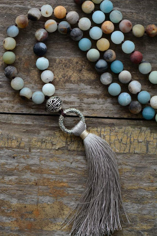 Image of Unique Handmade Amazonite And Jasper Necklace With Tassel