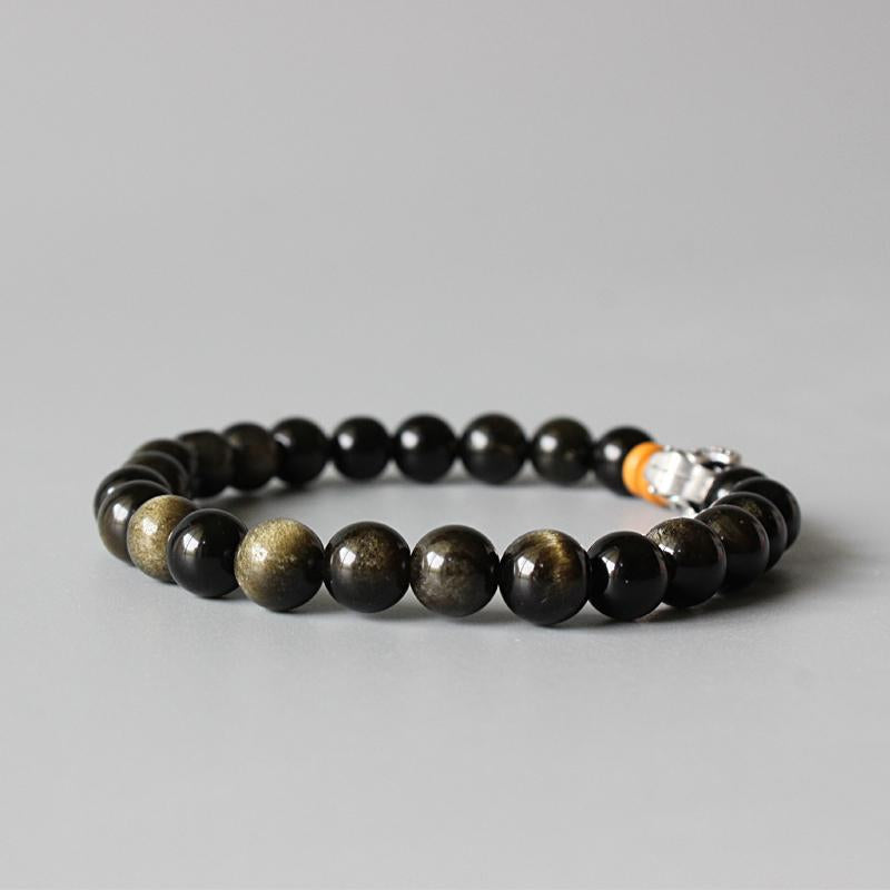 Golden Obsidian Beads Stretch Bracelet