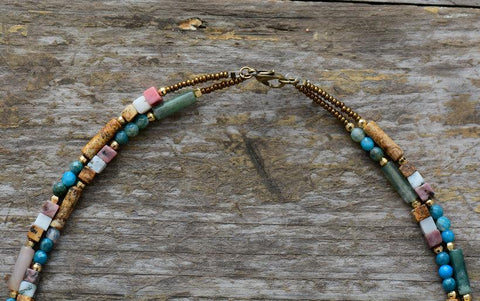 Handmade Jasper Stone Double Line Necklace