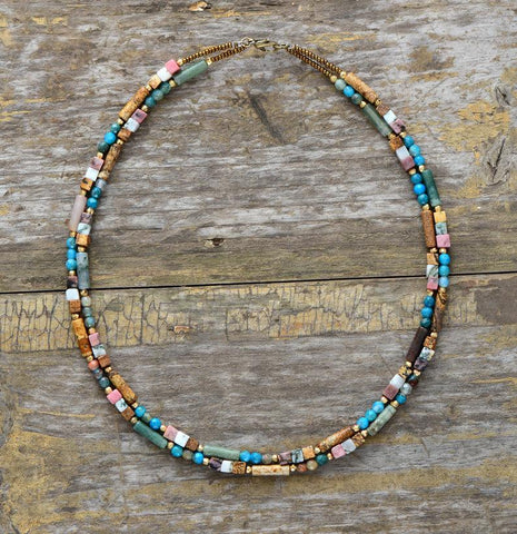 Image of Handmade Jasper Stone Double Line Necklace