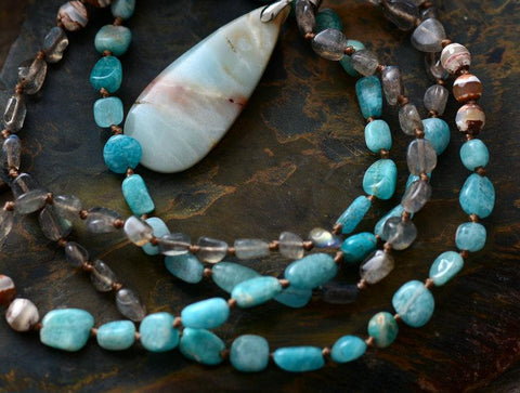 Handmade Crafted Labradorite And Amazonite Necklace With Pendant