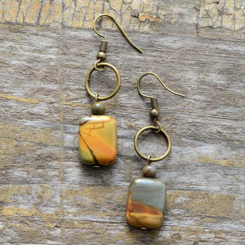 Image of Vintage Handmade Jasper Stone Bohemian Earrings