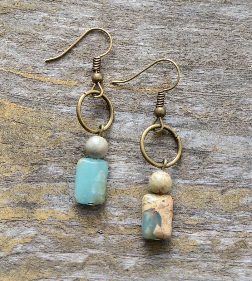 Vintage Handmade Jasper Stone Bohemian Earrings