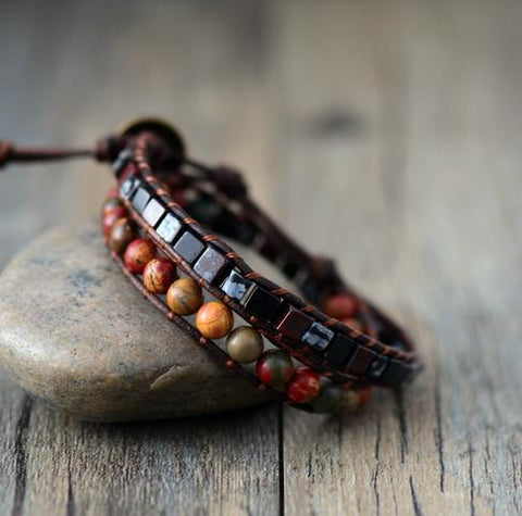 Image of Handmade Jasper Mix Leather Bracelet - Male and Female