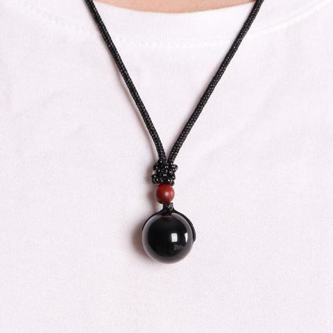 Image of Black Obsidian Rainbow Eye Beads Necklace