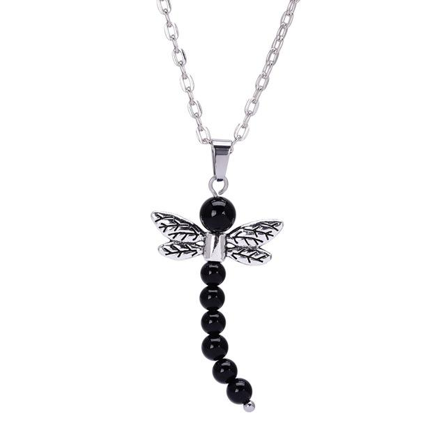 7 Chakra Stone Dragonfly Pendant Necklace