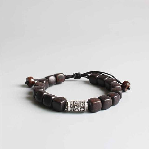 Natural Dark Wood With Tibetan Bracelet