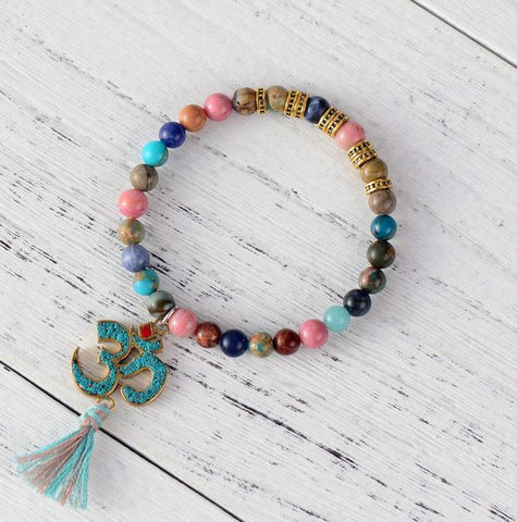 Bracelet Natural Stone with OM Charm