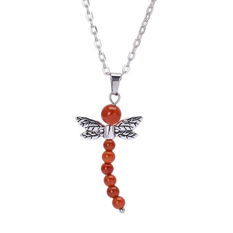 Image of 7 Chakra Stone Dragonfly Pendant Necklace