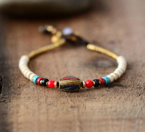 Image of Handmade Stones Beads With Nepal Charm Bracelet