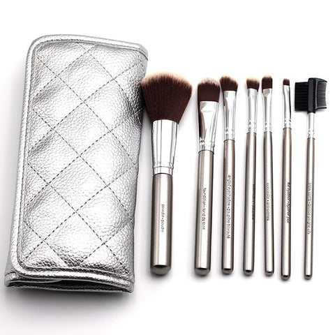 Makeup Brushes - ANN NOAH 7pcs Silver Plated Makeup Brush Set