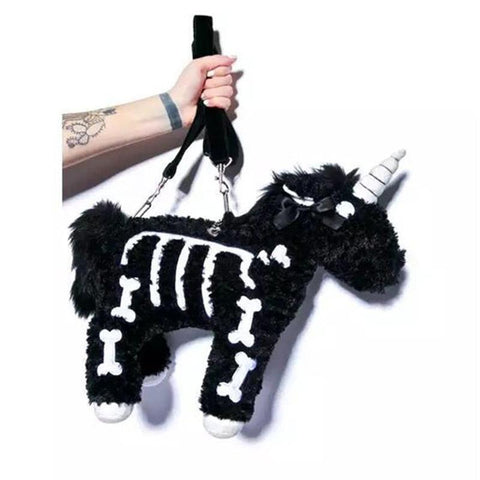 Goth Unicorn Handbag - Plush Punk Unicorn Bag