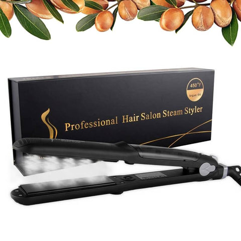 Professional Steam Styler™ - Argan Oil Steam Hair Straightener - Professional Flat Iron