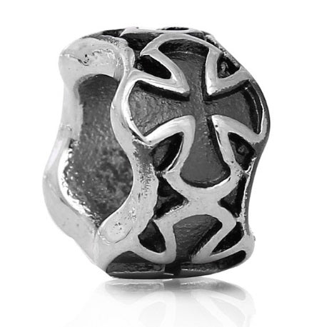 Antique Silver Plated metal Maltese Cross bead Harley Davidson inspired beard bead