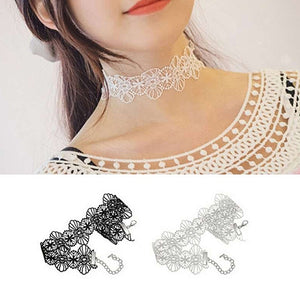 Steampunk Lace Embroidered Choker Necklace