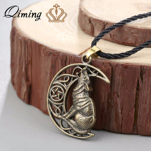 Wolf and moon charm Celtic Necklace Celtic knot Pendant