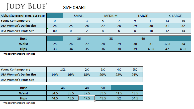 Judy Blue Jeans Sizing Guide– The Teal Antler Boutique