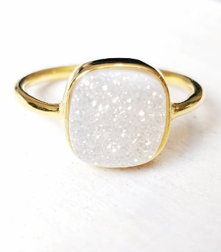 Gold Druzy Cushion Ring