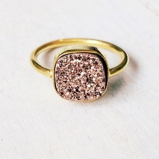 Gold Druzy Cushion Ring - The Teal Antler Boutique