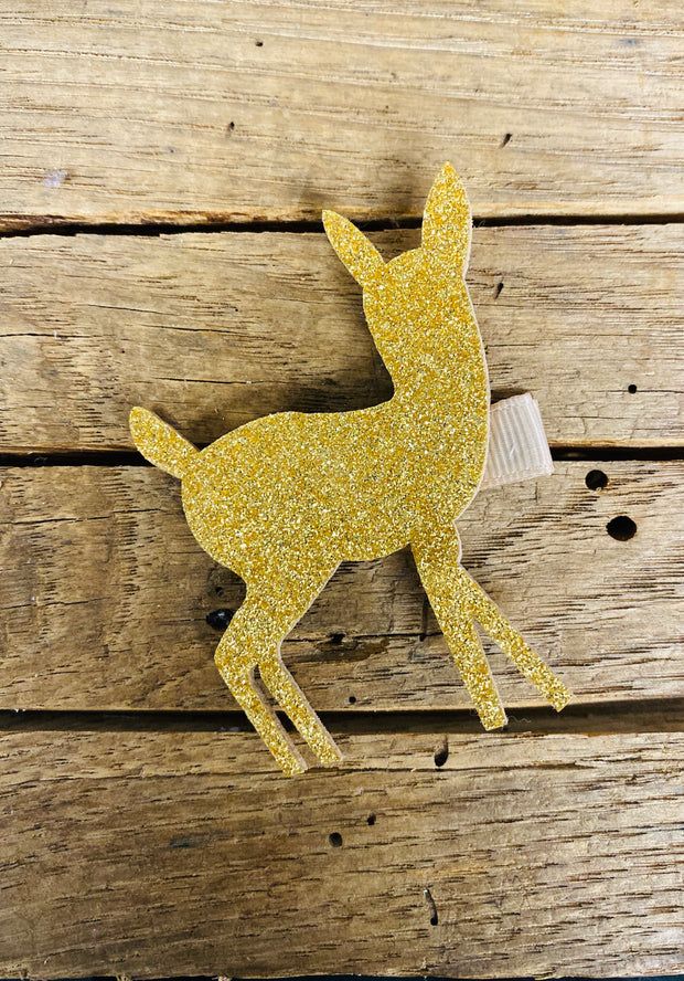 Gold Deer Glitter Hair Clip - The Teal Antler Boutique