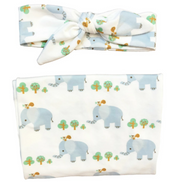 Elephant Swaddle Headband Set