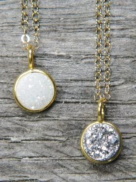 Tiny Gold Bezel Druzy Necklace - Gold Over Silver - The Teal Antler Boutique