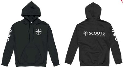 * SCOUTS NEW ZEALAND BLACK HOODIE - ADULT SIZES S - 5XL *