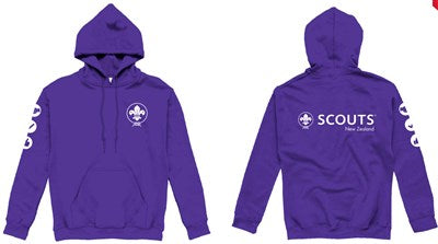 * SCOUTS NEW ZEALAND PURPLE HOODIE - ADULT SIZES S - 3XL *