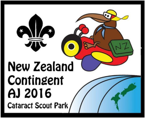 BLANKET PATCH - NEW ZEALAND CONTINGENT AJ2016 CATARACT SCOUT PARK SWAP BADGE - WHITE BACKGROUND