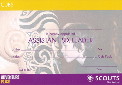 CERTIFICATE - CUB - ASSISTANT SIX LEADER