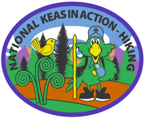 NATIONAL KEAS IN ACTION - HIKING BADGE - BLUE BORDER