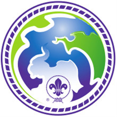 VENTURER AND ROVER BADGE - WORLD SCOUT ENVIRONMENT PROGRAMME - PURPLE