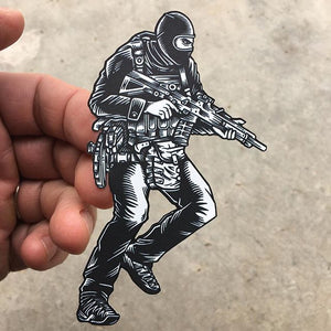 "Sticker SAS Who Dares Wins Black & White 4"" x 2.5"""