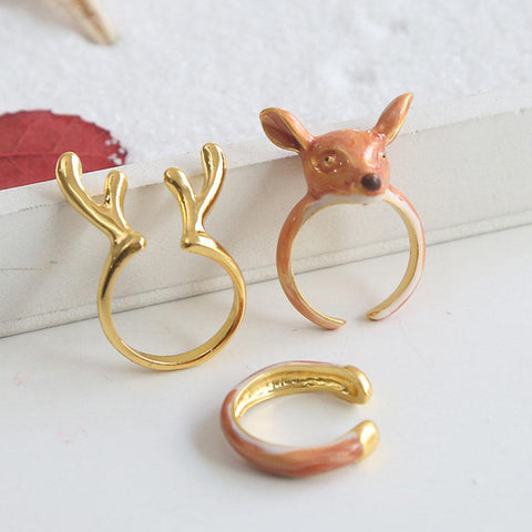 WOO LOO FASHION-Holiday Exclusive  - Deer Rings Set