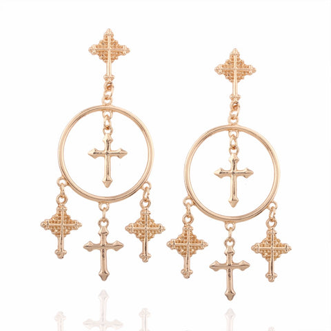 Zada Cross Drop Earrings