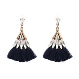 WOO LOO FASHION-Crystal Dangle Tassel Earrings