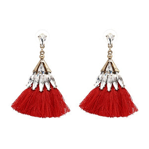 WOO LOO FASHION-Crystal  Skirt  Dangle Tassel Earrings