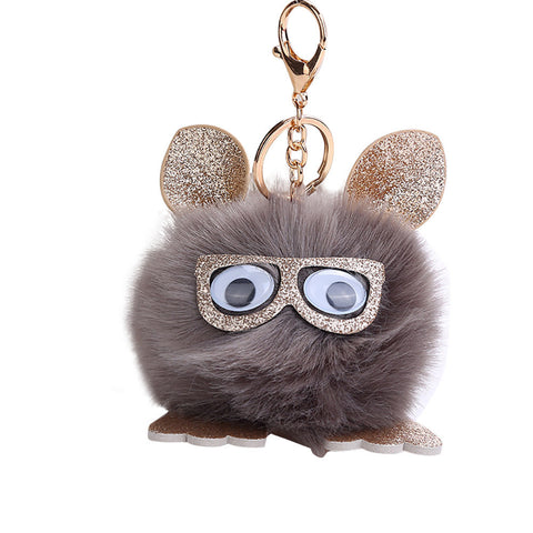 WOO LOO FASHION-Cute Owl Pendant Pompoms Keychain