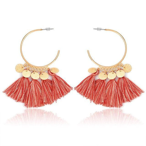 WOO LOO FASHION-Tassel Dangle Earring  (7 colors)