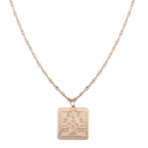 JS Square Pendant Necklace