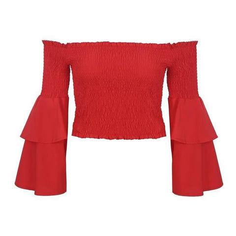 WOO LOO FASHION-Ruffles Crop Blouse