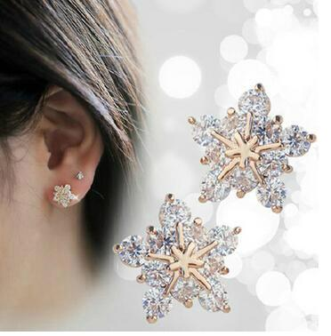 WOO LOO FASHION-Snowflake Crystal Earrings