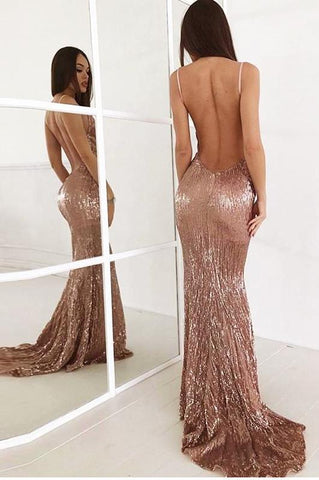 WOO LOO FASHION-Rose Gold Sequined Maxi Dress