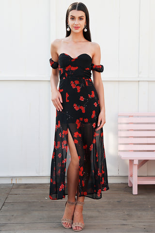 WOO LOO FASHION-Off Shoulder Split Dress