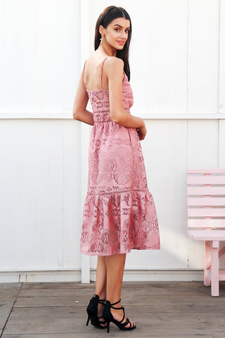 WOO LOO FASHION-Maxi Lace Dress | Pink