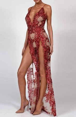 WOO LOO FASHION-Red Mermaid Sequin Jumpsuit