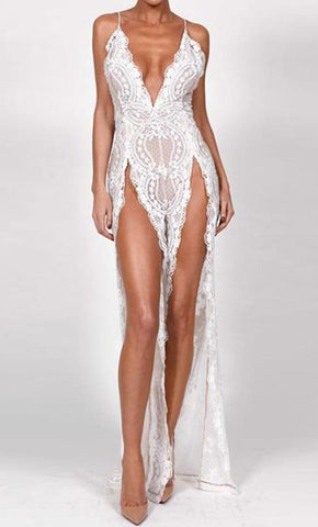 WOO LOO FASHION-Lace Sequin Jumpsuit