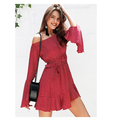 WOO LOO FASHION-Off Shoulder Dot Dress
