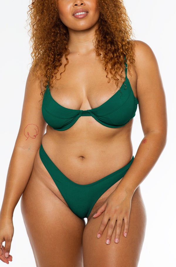 JASMINE BOTTOM / forest green ribbed